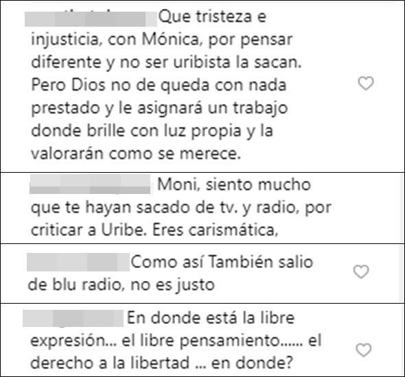 Print de espectadores opinando sobre la salida de Mónica Rodríguez de Día a día
