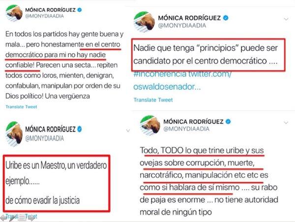 Print de los trinos de Mónica Rodríguez contra Álvaro Uribe en 2018