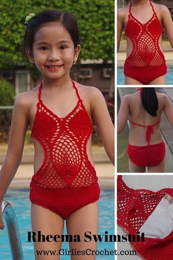 Foto de vestido de baño en crochet para niñas