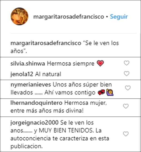 Print de comentarios con halagos a las arrugas de Margarita Rosa de Francisco