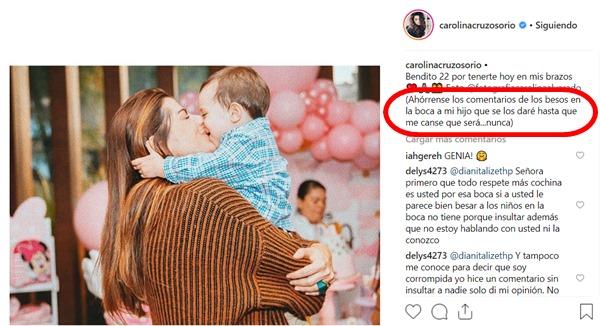 Foto de Carolina Cruz besando a su hijo en la boca con un mensaje que dice que no le preocupan las críticas.