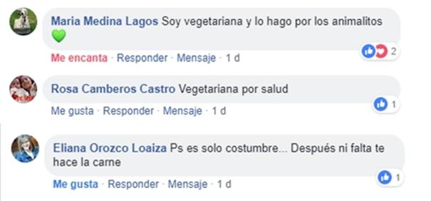 Comentarios de vegetarianos en el facebook de Vibra