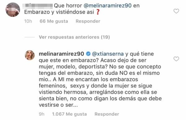 Críticas a Melina Ramírez por su ropa sexi de embarazo