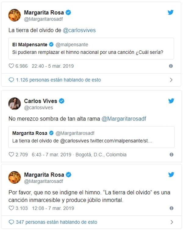Intercambio de trinos entre Margarita Rosa de Francisco y Carlos Vives