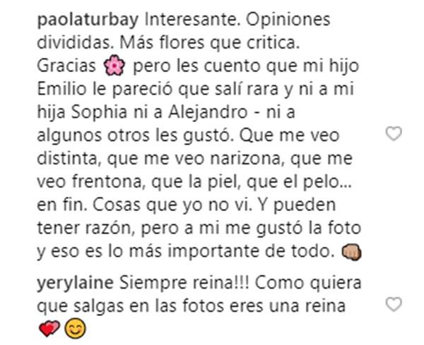 Palabras de Paola Turbay defendiendo su foto sin maquillaje
