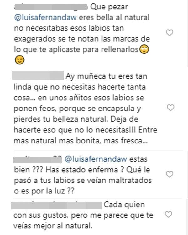 Print de algunas críticas a nuevo rostro de Luisa Fernanda W