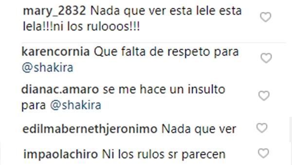 Comentarios criticando a la doble de Shakira venezolana