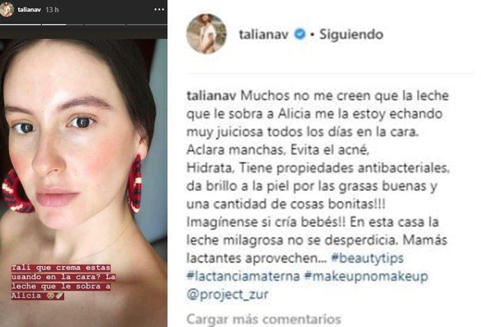 Print de comentarios de Taliana Vargas hablando sobre la leche materna para la piel