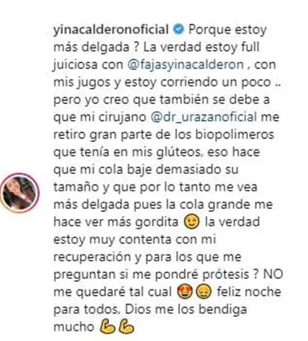 Mensaje de Yina Calderón en sus redes donde dice que su secreto para adelgazar son sus fajas