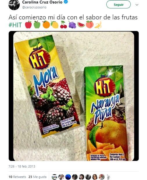 Trino de Carolina Cruz promocionando jugos en cajita