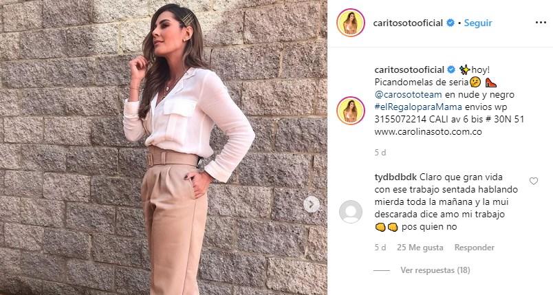 Comentario de seguidora a Carolina Soto