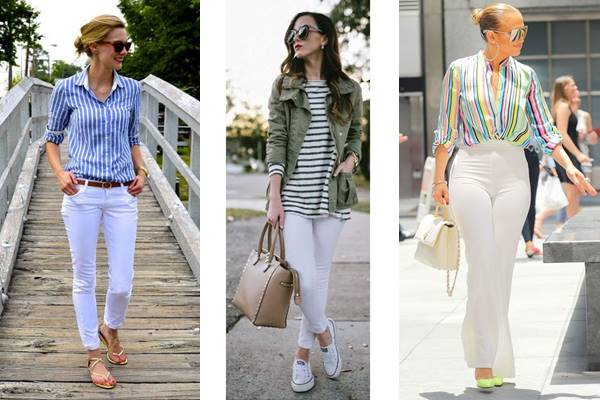 Foto de tres chicas con pantalón blanco y camisa a rayas