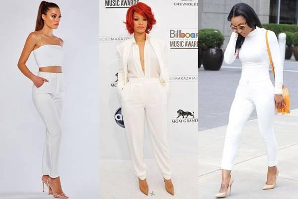 Fotos de chicas vestidas de blanco con zapatos color piel