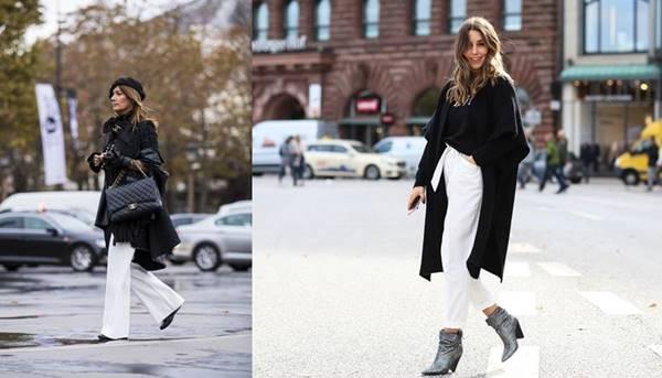 Foto de chicas con pantalones blancos combinados con chaqueta negra