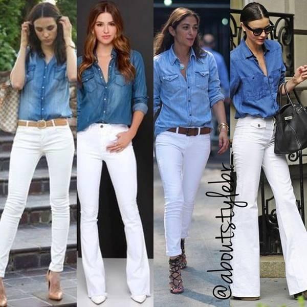 Chicas con pantalón blanco y camisa de jean