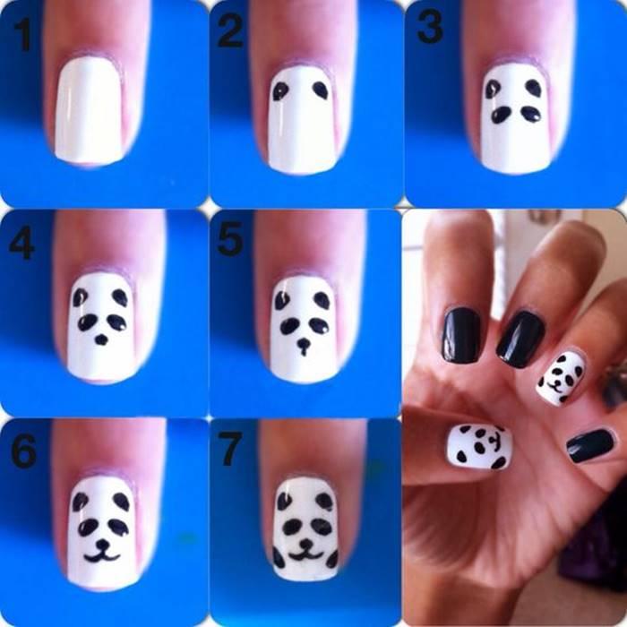 Foto de paso a paso de manicure panda