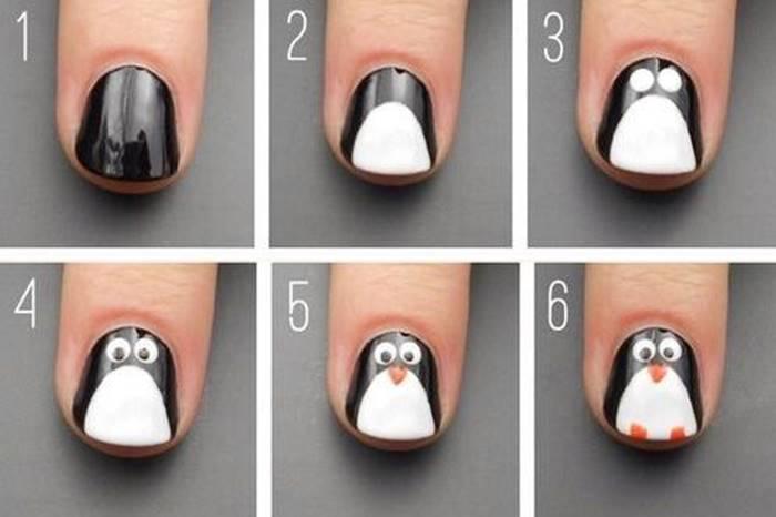 Foto del paso a paso de manicure pingüino