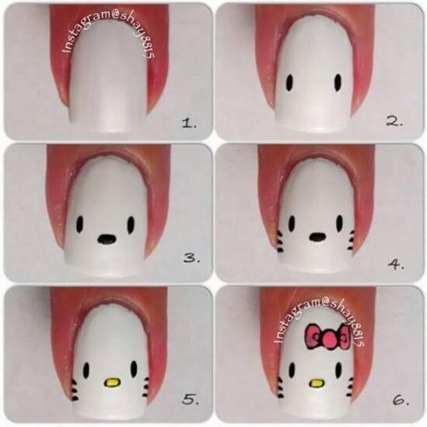 Foto de decoración de uñas para niñas estilo Hello Kitty