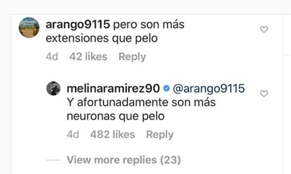 Comentario de seguidor a Melina Ramírez
