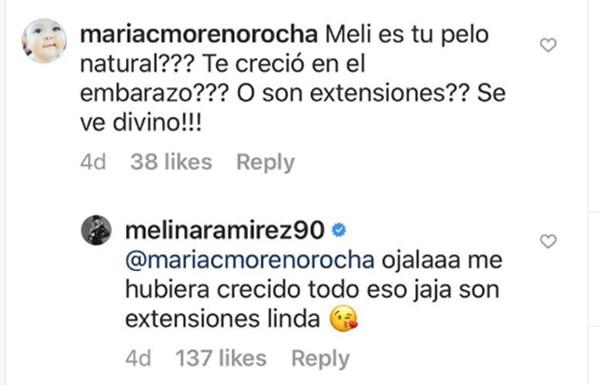 Respuesta de Melina Ramírez sobre extensiones