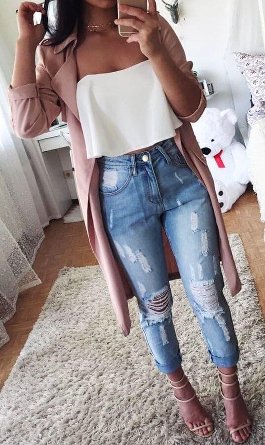 Foto de chica con blusa strapless