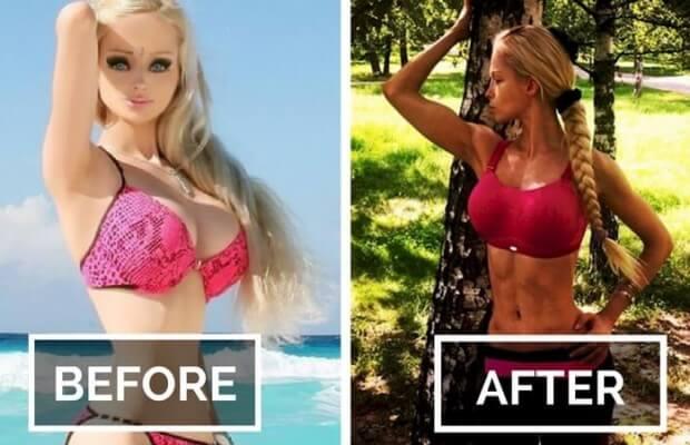 Foto de la Human Barbie original antes y después