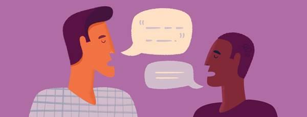 Ilustración de dos chicos hablando