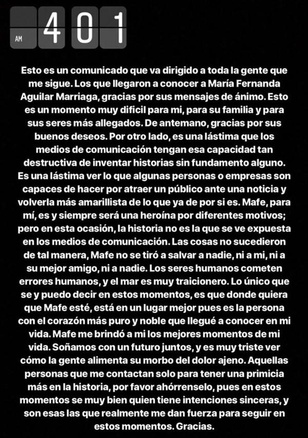Declaración Julián González sobre muerte de María Fernanda Aguilar