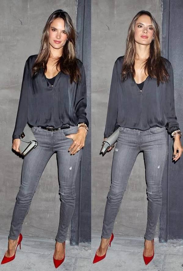 Foto de chica que combina así los jeans gris para mujer