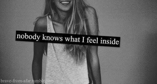 Foto de chica diciendo que nadie sabe lo que siente