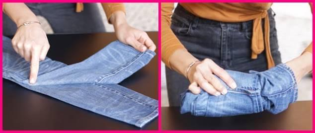 Foto de una mujer doblando jeans