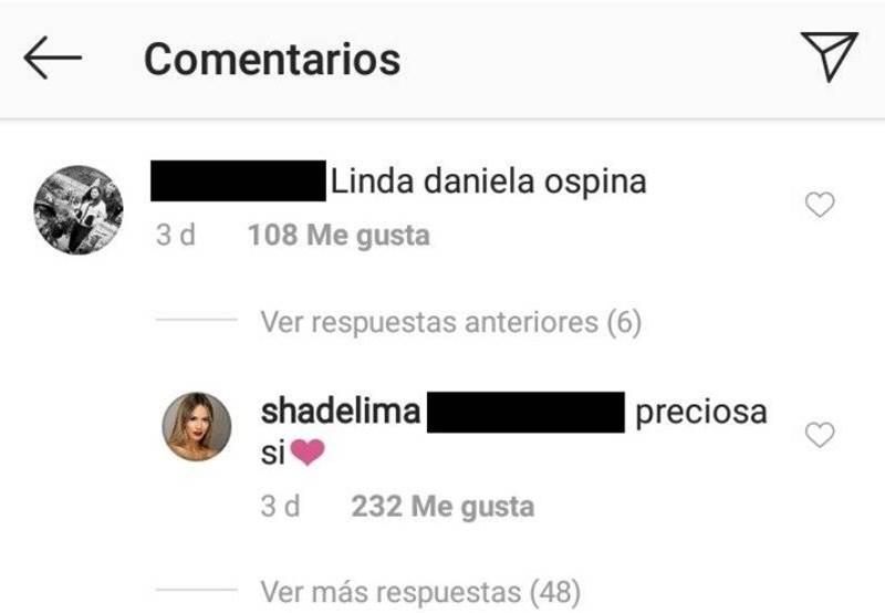 Mensaje de Shannon de Lima a Daniela Ospina