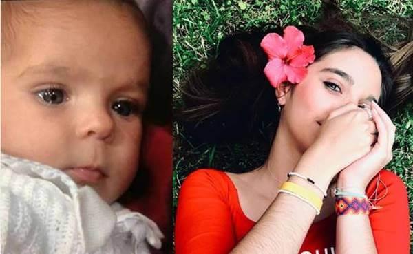 Foto de Oriana cuando era bebé y hoy en día