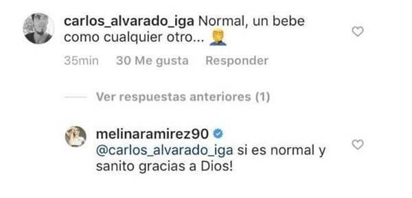 Print de comentarios de la cuenta de Instagram de esta famosa