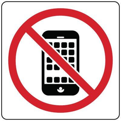 Imagen de un celular tachado