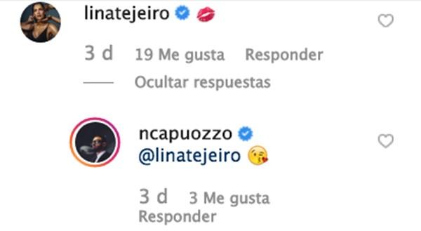 Mensaje entre Lina Tejeiro y Norman Capuozzo