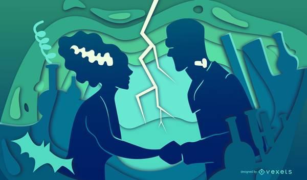 Imagen de una pareja tomadas de las manos pero disfrazados