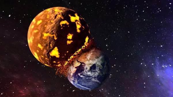 Imagen de un planeta estrellándose con la Tierra