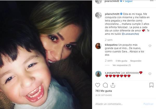 Foto de esta presentadora con su hijo
