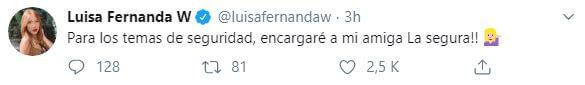 Luisa Fernanda W propone a La Segura para temas de seguridad