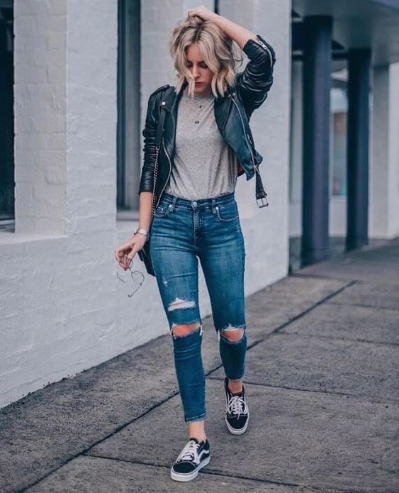 Foto de chica con estilo rockero