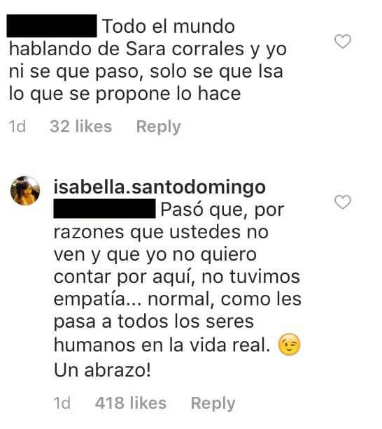 Comentario halagando a Sara Corrales