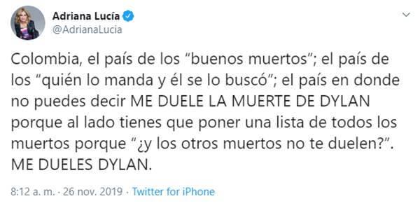 Print de Twitter de Adriana Lucía con palabras sobre este joven