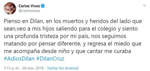 Print de palabras en las redes de Carlos Vives sobre este joven