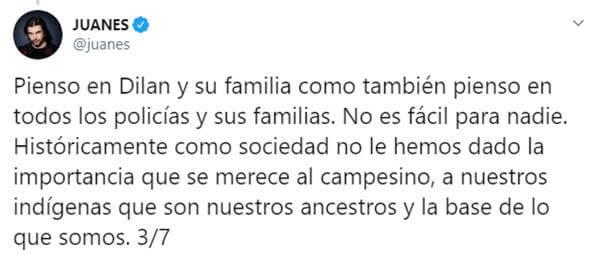 Print de Twitter de Juanes