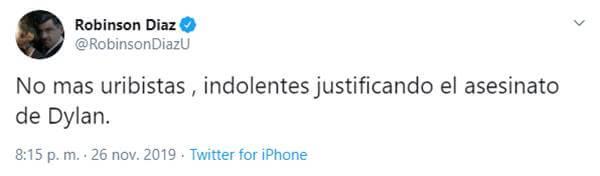 Print de Twitter de Robinson Díaz sobre este joven