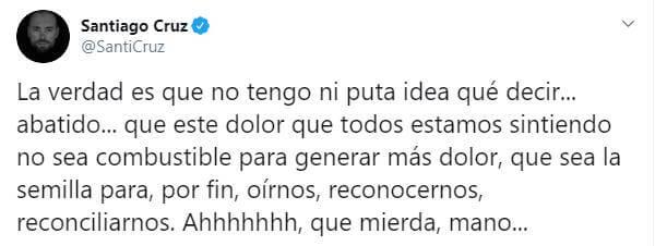 Print de Twitter de Santiago Cruz sobre este joven