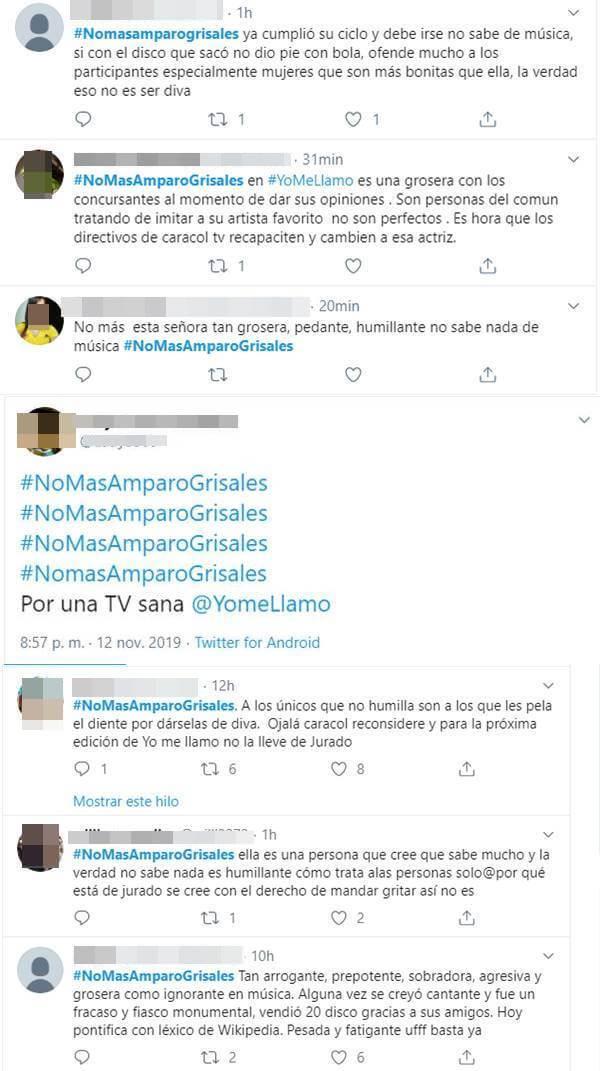 Print de Twitter con críticas