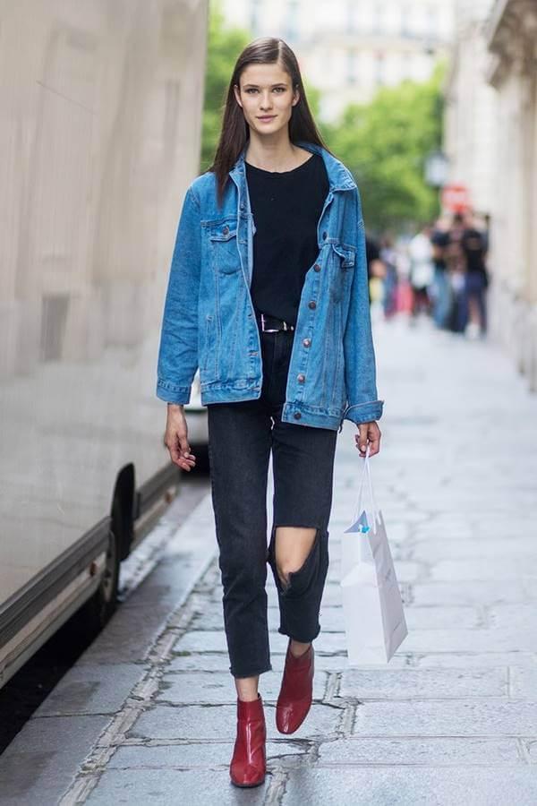 Foto de una chica con esta prenda y chaqueta de jean