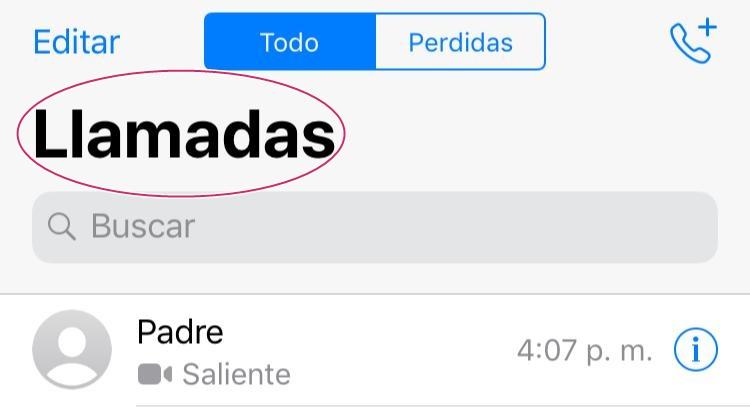 """Dar click en la opción """"Llamadas"""""""